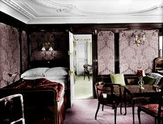 Colorized. One of the rooms on the Titanic