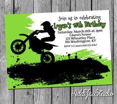 Lime Green Motorcross birthday PRINTABLE birthday printable. ***Send me your…