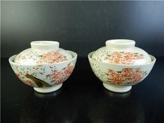H3032: Japanese Old Kiyomizu-ware Flower pattern TEA BOWL/dish of soup 2pcs  	Age: 	1900-1940