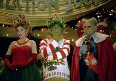 Martha May Whovier (Christine Baranski); The Grinch (Jim Carey); Mayor of Whoville, Augustus Maywho (Jeffrey Tambor) Grinch Party, Grinch Christmas Party, Grinch Who Stole Christmas, Christmas Costumes, Christmas Time, Cozy Christmas, Christmas Fashion, Xmas Party, Family Christmas