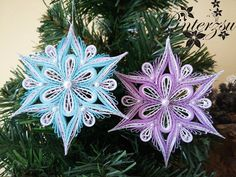 Quilled snowflakes by pinterzsu on DeviantArt - LYDİA Paper Quilling Earrings, Arte Quilling, Paper Quilling Patterns, Origami And Quilling, Quilling Paper Craft, Quilling Flowers, Paper Crafts, Quilling Christmas, Christmas Snowflakes
