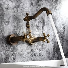 Antique inspired Bathroom Sink Faucet - Wall Mount (Antique Brass ...
