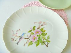 Vintage snack plate from Japan with a bird.  A Bird!
