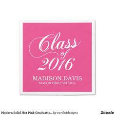 Modern Solid Hot Pink Graduation Napkins Standard Cocktail Napkin