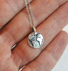 silver earth globe necklace charm pendant