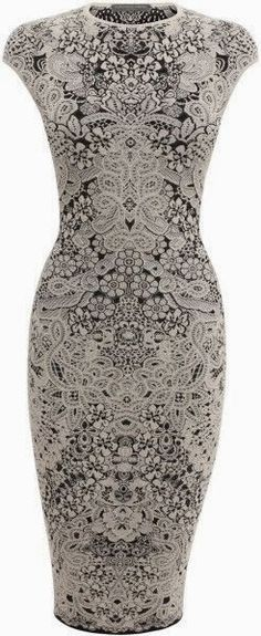 Spine Lace Crochet Jacquard Pencil Dress