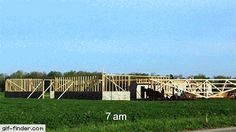 10-hour time-lapse of an Amish barn raising