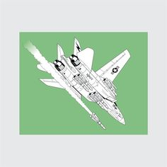 F-14 Tomcat Art Print, 8x10 PRINTABLE, Fighter Jet, Instant Download, Digital