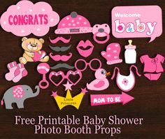 Free Printable Girl Baby Shower Photo Booth Props