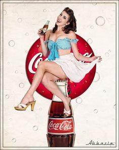 coca cola pin up Vintage Coca Cola, Pin Up Girl Vintage, Coca Cola Poster, Coca Cola Ad, Always Coca Cola, Pepsi, Vintage Advertisements, Vintage Ads, Style Rockabilly