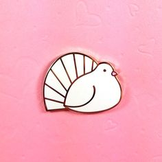 Fantail Dove Hard Enamel Pin by fleacircusdesigns on Etsy