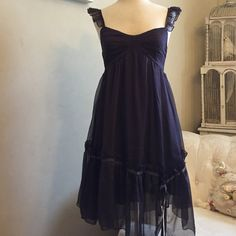 Midnight Purple Baby Doll Dress Absolutely adorable babydoll dress in deep dark purple color. Chiffon fabric, fully lined, adorn with ruffles and ribbon. Straps are adjustable. Brand new with tag. Size Small Cecico Dresses Midi
