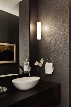 Edenbridge Humber Valley Home Powder Room Bath Contemporary Transitional by Jennifer Worts Design