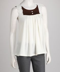 Take a look at this White & Black Keyhole Tank by Jazzy Martini on #zulily today!  $9.99, regular 44.00