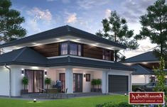 Projekt domu Verona III NF40, wizualizacja 1 Sims House Plans, House Layout Plans, House Layouts, Best Modern House Design, Modern House Plans, Bungalow, Verona, Village House Design, Storey Homes