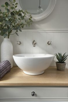 Ross and Ian wanted a calming, soothing decor for a timeless look that will never go out of style Cloakroom Toilet Downstairs Loo, Small Bathroom, Cloakroom Sink, Bathroom Ideas, Wall Mounted Basins, Simple House Design, Toilet Room, Small Toilet, Bathroom Collections