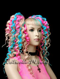 Curly dreads in blonde pink and blue #dreads #cyber #anime