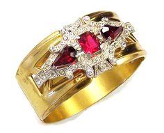 McCLELLAND BARCLAY Deco Ruby Red & Diamante Bangle Bracelet