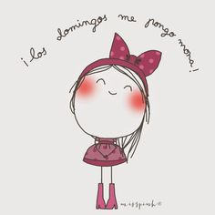 Miss Pink. Art Drawings For Kids, Cartoon Drawings, Easy Drawings, Stick Figures, Cute Little Girls, Cute Illustration, Cute Cartoon, Cute Art, Illustrations Posters
