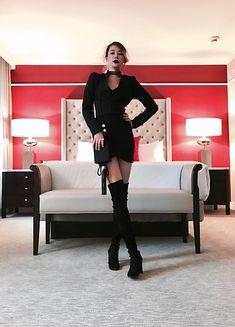 Get this look: http://lb.nu/look/8904435  More looks by Chris J. Shin: http://lb.nu/chrisjshin94  Items in this look:  Chanel Vintage Black Pearl Minaudière, Club Monaco Victorian Inspired Jacket, Aritzia Black Primrose Skirt, Stuart Weitzman Black Highland Boots   #chic #edgy #vintage #hotel #fancy #stylish #fashion #style #fashionblogger