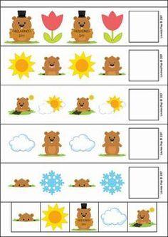 Groundhog Day Preschool Centers. Groundhog Day AB patterns.
