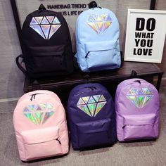 Holographic Silver Diamond Solid Women Canvas Backpack School Bags Teen Girls Unisex Female Men Laptop Travel Large Mochilas *** Check out the image by visiting the link. Cute Backpacks, School Backpacks, Canvas Backpacks, Fashion Bags, Fashion Backpack, Swag Fashion, Dope Fashion, Waterproof Backpack, Cute Bags