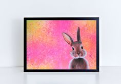 Bunny Poster, Abstract Bunny Print, Colorful Bunny Painting, Bunny Wall Art von TerraSomniaArt auf Etsy Bunny Painting, Museum, Fantasy Kunst, Poster Making, Bunt, Giclee Print, Poster Prints, Colorful, Wall Art