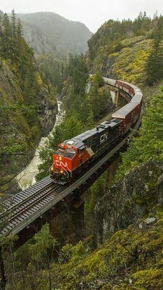 ♥ Take the CN train across Canada. Train Car, Train Tracks, Train Rides, Rail Train, Canadian National Railway, Railroad Photography, Train Pictures, Old Trains, Train Engines