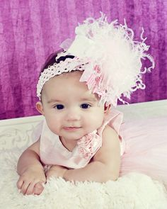 Over the Top White and Light Pink Boutique Hair Bow with Ostrich Puff and Matching Headband...FREE SHIPPING on all additional items. $16.99, via Etsy.