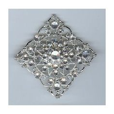 Diamond Shaped Brooch with Silver Nickel Finish and Clear Stones Everything Else