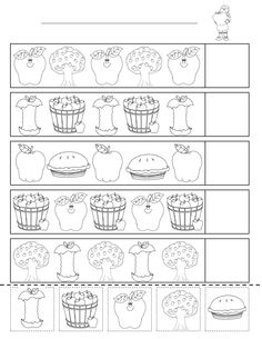 Identifying patterns is a basic skill taught in preschool and kindergarten. Patterns are a recurring theme in preschool and kindergarten math lessons because patterns occur naturally when counting Fall Preschool, Preschool Math, Kindergarten Classroom, Teaching Math, Apple Activities, Autumn Activities, Preschool Activities, Preschool Printables, Preschool Worksheets