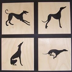 "Folksy :: Buy ""Set of 4 Greyhound Coasters"" - Wooden Crafts Greyhound Tattoo, Greyhound Art, Italian Greyhound, Dog Silhouette, Silhouette Tattoos, Hounds Of Love, Lurcher, Grey Hound Dog, Dog Tattoos"