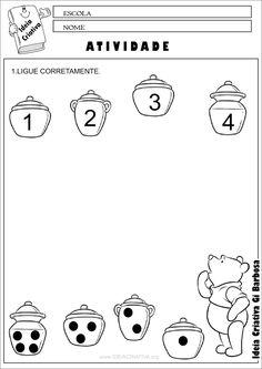 Atividade Número e Quantidade Ursinho Pooh Preschool Poems, Numbers Preschool, Kindergarten Math Worksheets, In Kindergarten, Activities For 2 Year Olds, Preschool Learning Activities, Teaching Kids, Kids Learning, School Folders