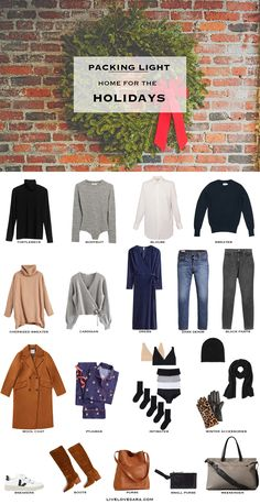 What to pack for the Holidays - Packing Light: Home for the Christmas Holidays. What to pack. Christmas Travel Capsule Wardrobe Source by womenontrend - Winter Mode Outfits, Winter Fashion Outfits, Holiday Outfits, Holiday Clothes, Holiday Packing Lists, Winter Packing, Travel Wardrobe, Capsule Wardrobe, Travel Capsule