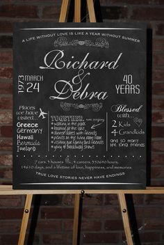 Custom Printable Anniversary Board Poster by ChalkingItUpBoards, $35.00