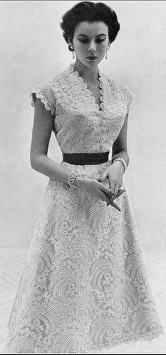 "Sylvie Hirsch in Lanvin-Castillo, 1953 // photo by Eugene ""Genia"" Rubin www.vintageclothin.com"