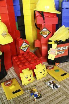 lego birthday party ideas | Lego Construction Birthday Party via Kara's Party Ideas #lego # ... (like to make Lego head bean bag for tossing game)