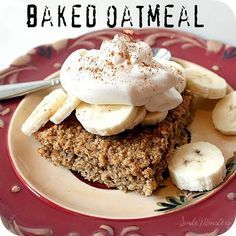 Baked Oatmeal - very delicious. We supplemented 2/3 bananas for the two eggs. Next time I may add a little less banana so it bales up a little firmer. Really great though.