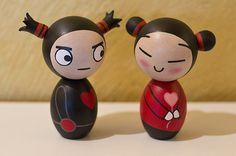 Pucca and Garu inspired kokeshi dolls. A set. by MyKokeshiDolls