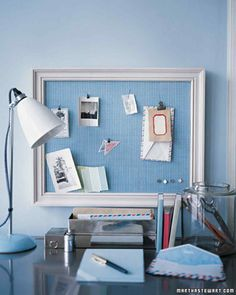 Home Office Organization: Cover a plain bulletin board with a pretty fabric and add a frame. Paint the frame in a coordinating color. I like the way it is hung from a ribbon. Home Office Organization, Organizing Your Home, Organization Hacks, Office Decor, Organized Office, Organizing Ideas, Decoration St Valentin, Diy Casa, Diy Frame