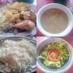 Um almoço bom em tudo, menos no principal, um frango mal temperado, que realmente desagradou, as batatas ao contrário estavam muito boa, mas como não são o principal, realmente o prato ficou devendo.  #almoco #comida #restaurante #lanchonete #FrangoAssado #arroz #feijao #farofa #batata #saute #salada #alface #tomate #XinGourmet #PasteluxoII #food #lunch #restaurant #chicken #rice #beans #potato #salad #lettuce #tomato  Frango Assado - R$17 comendo Frango Assado em Restaurante Pasteluxo II