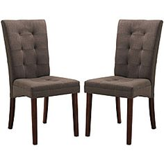 @Overstock - Set includes: Two (2) dinning chair   Materials: Rubber wood,  fabric  Brown finish  http://www.overstock.com/Home-Garden/Anne-Brown-Dining-Chairs-Set-of-2/6328351/product.html?CID=214117 $161.09