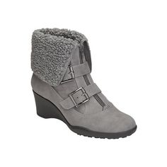 Women's A2 by Aerosoles Music Tor Bootie - Grey Fabric/Faux Fur Ankle Boots (60 CAD) found on Polyvore featuring women's fashion, shoes, boots, ankle booties, grey, grey ankle booties, grey booties, wedge booties, gray ankle boots and cuffed ankle boots