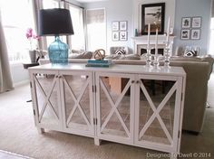mirrored console table - I want a sofa table!!