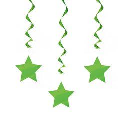 Colgantes con siluetas de estrellas, para decorar fiestas - de www.fiestafacil.com, $2.40 para 3 / Star-shaped danglers for party decoration, from www.fiestafacil.com