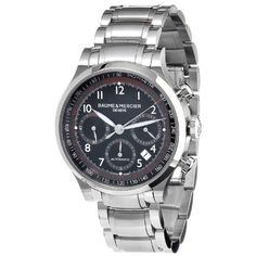 Baume & Mercier Men's MOA10062 Automatic Stainless Steel Black Dial Chronograph Watch Baume & Mercier. $2472.66. Water-resistant to 50 M (165 feet). Chronograph watch. Case diameter: 42 mm. Sapphire crystal. Automatic