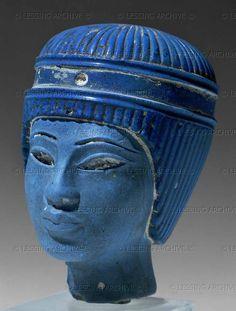 Head made of blue glass Amarna period, 1365-1347 BCE H: 9 cm Inv. E 11658  Louvre, Departement des Antiquites Egyptiennes, Paris, France