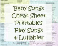 Baby Songs Cheat Sheets Printables - Lyrics for Play Songs & Lullabies from The More With Less Mom