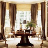 Bay window curtain and roman shade ideas