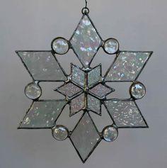 stained glass snowflake suncatcher design 2 by bitsandglassart
